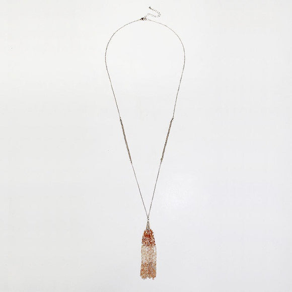Tri Color Nude Crystal Beaded Tassel Gold Necklace ( 415 )