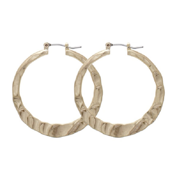 35mm Matte Gold Hammered Hoop Earrings