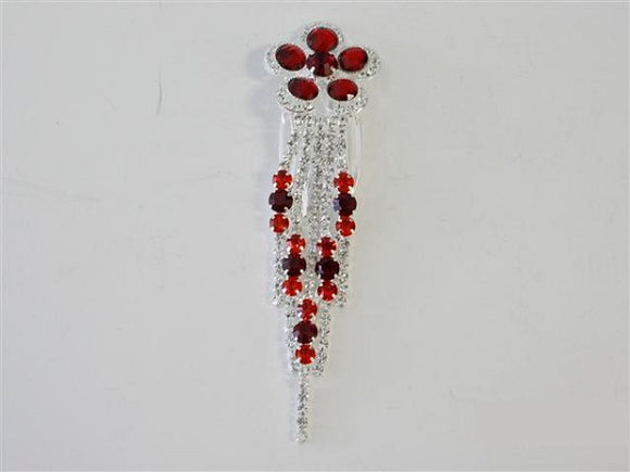 Red Flower Fringe Crystal Hair Comb ( 2465 )