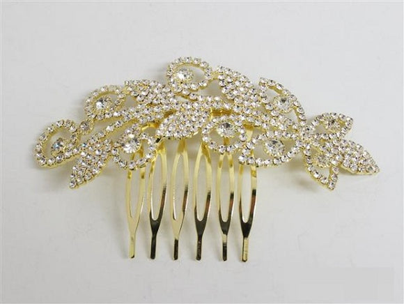 Gold Clear Rhinestone Hair Comb ( 3399 )