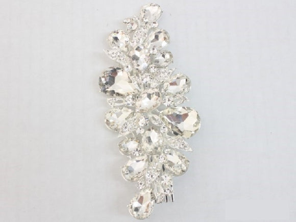 SILVER HAIR COMB WITH CLEAR STONES ( 3687 )