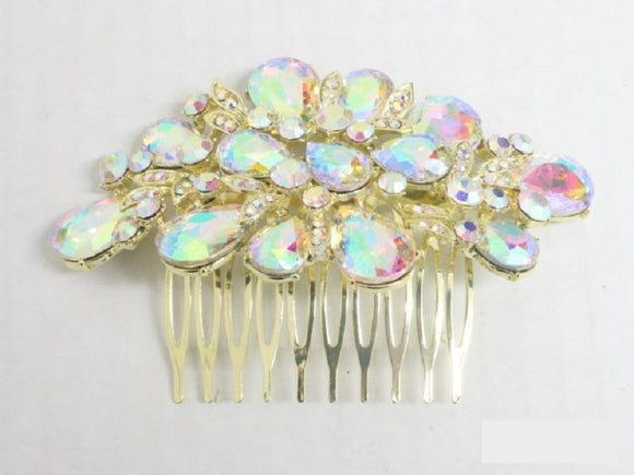 GOLD HAIR COMB AB STONES ( 3693 )