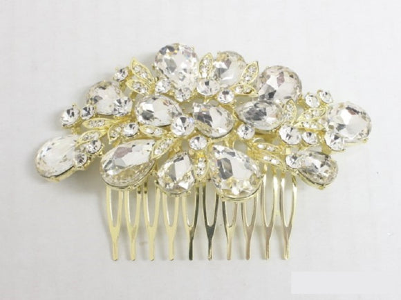 GOLD HAIR COMB CLEAR STONES ( 3693 )