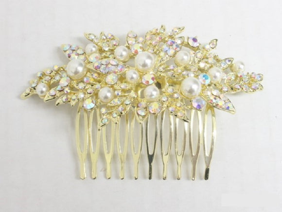 GOLD HAIR COMB AB STONES CREAM PEARLS ( 3695 )