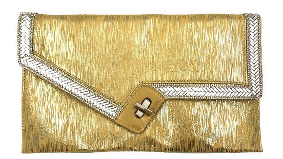 Gold Handbag with Clear Stones