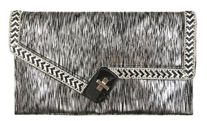 Black and Silver Handbag with Black and Clear Stones