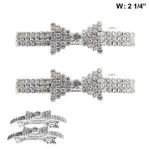 Set of 2 Silver Clear Rhinestone Bow Hair Clips ( 516 )