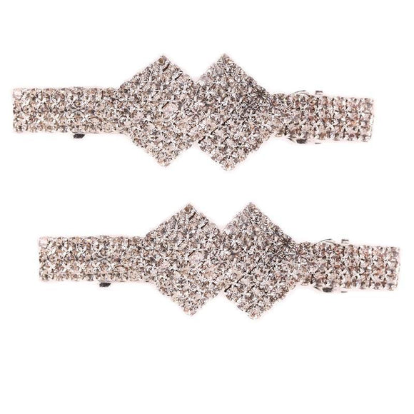 SILVER HAIR CLIP CLEAR STONES ( 8719 S ) - Ohmyjewelry.com