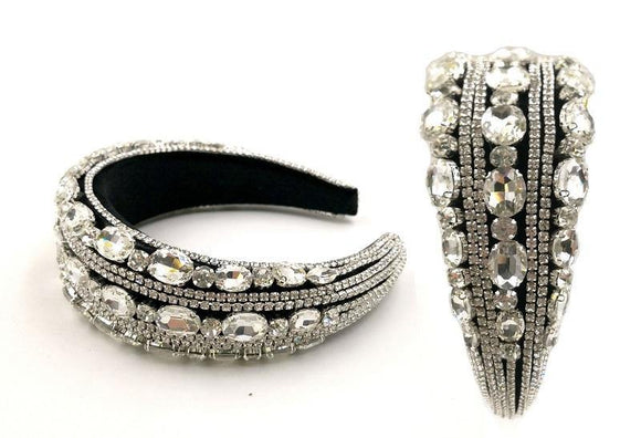 SILVER CLEAR OVAL ROUND CRYSTAL HEADBAND ( 0123 )