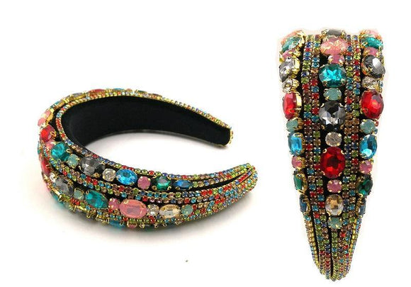 GOLD MULTI COLOR OVAL ROUND CRYSTAL HEADBAND ( 0123 )