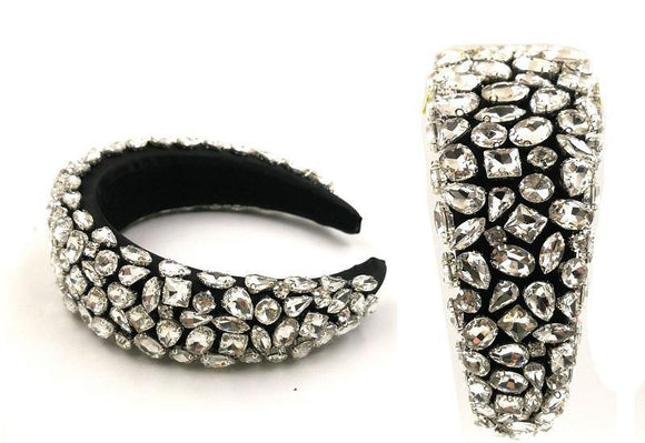 SILVER CLEAR MULTI SHAPE CRYSTAL HEADBAND ( 0124 )