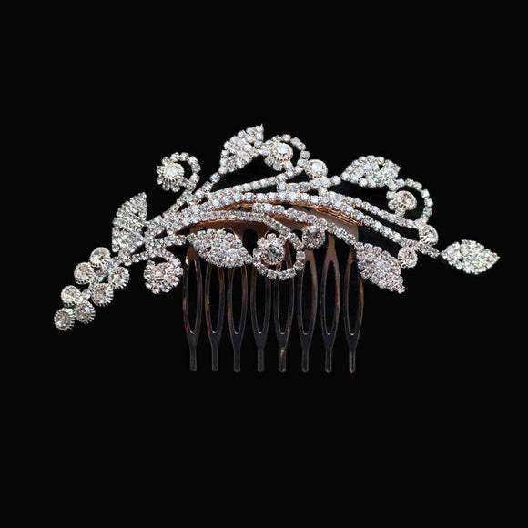 ROSE GOLD Hair Comb with Clear Stones Floral Design ( 2184 RG ) - Ohmyjewelry.com