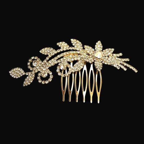 GOLD HAIR COMB CLEAR STONES FLOWER ( 101 G )