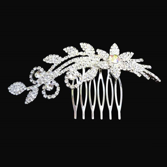 SILVER HAIR COMB CLEAR STONES FLOWER ( 101 )