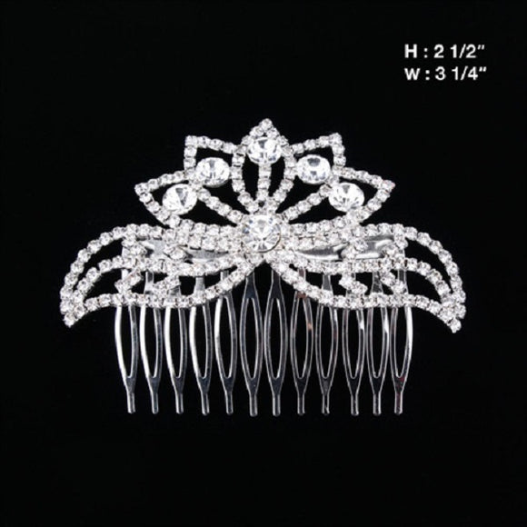 Clear Rhinestone Hair Comb in Silver Setting ( 2813 )