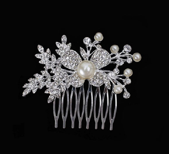 White Pearl and Clear Rhinestone Hair Comb ( 6023 )