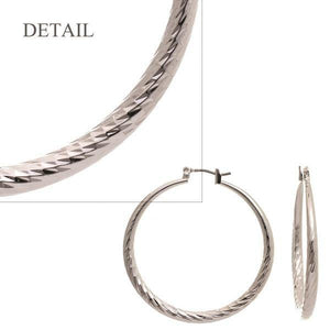 "1 1/2"" Silver Diamond Cut Hollow Hoop Earrings ( 342 )"
