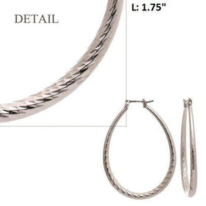"1 3/4"" Silver Diamond Cut Oval Hollow Hoop Earrings ( HD3M )"