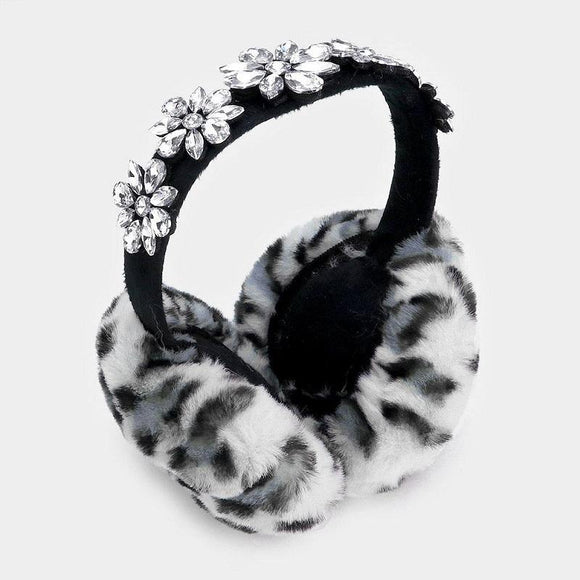 WHITE LEOPARD PRINT FAUX FUR EARMUFF WITH CLEAR STONES ( 1061 )