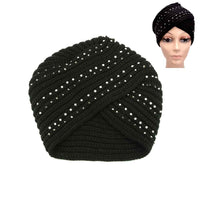 BLACK KNITTED TURBAN WITH CLEAR STONES ( 10433 )