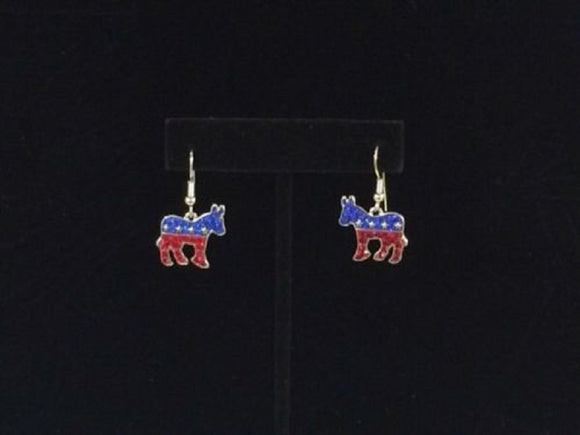 Red, White, and Blue Rhinestone Donkey Dangle Earrings ( 191 )