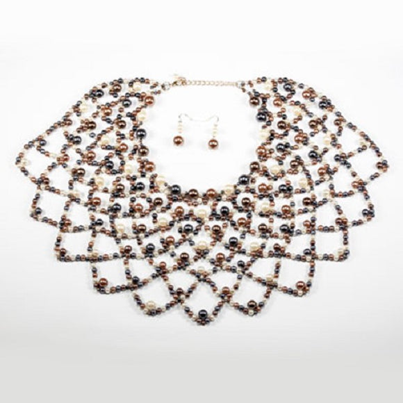 Dark Multi Color Pearl Netted Bib Style Necklace with Earrings ( 1067 )