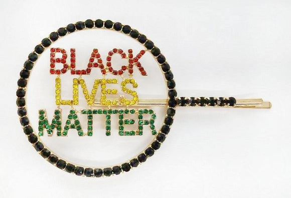 GOLD BLACK LIVES MATTER HAIR PIN MULTI COLOR STONES ( 6087 )