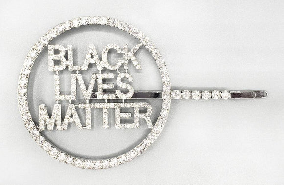 SILVER BLACK LIVES MATTER HAIR PIN CLEAR STONES ( 6087 )