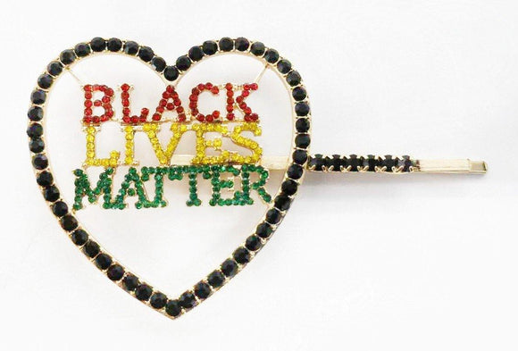 GOLD MULTI COLOR STONES HEART BLACK LIVES MATTER HAIR PIN ( 6088 )