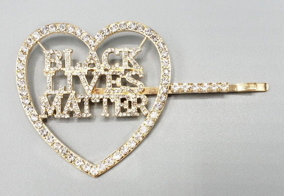 GOLD CLEAR STONES HEART BLACK LIVES MATTER HAIR PIN ( 6088 )