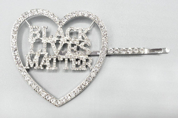 SILVER CLEAR STONES HEART BLACK LIVES MATTER HAIR PIN ( 6088 )