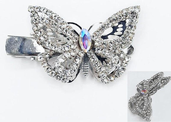 SILVER CLEAR AB BUTTERFLY HAIR CLIP ( 6092 )