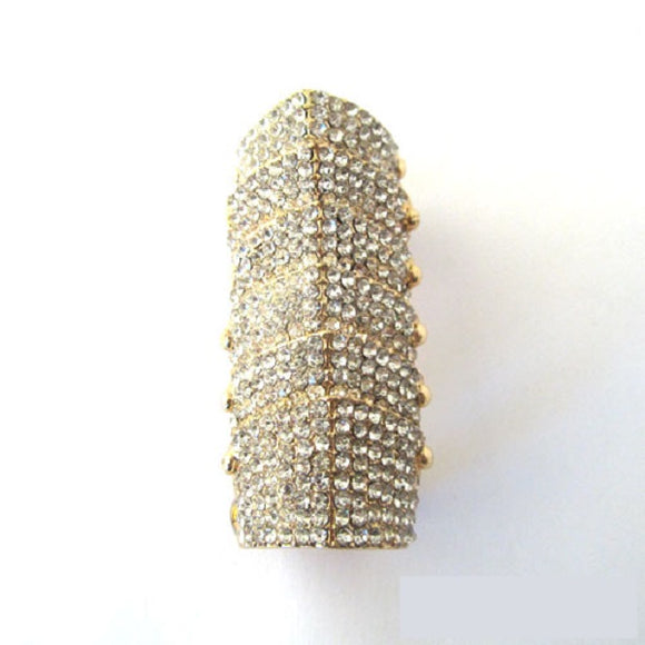 Gold Gothic Armor Bendable Stretch Ring with Clear Rhinestones ( 1073 )