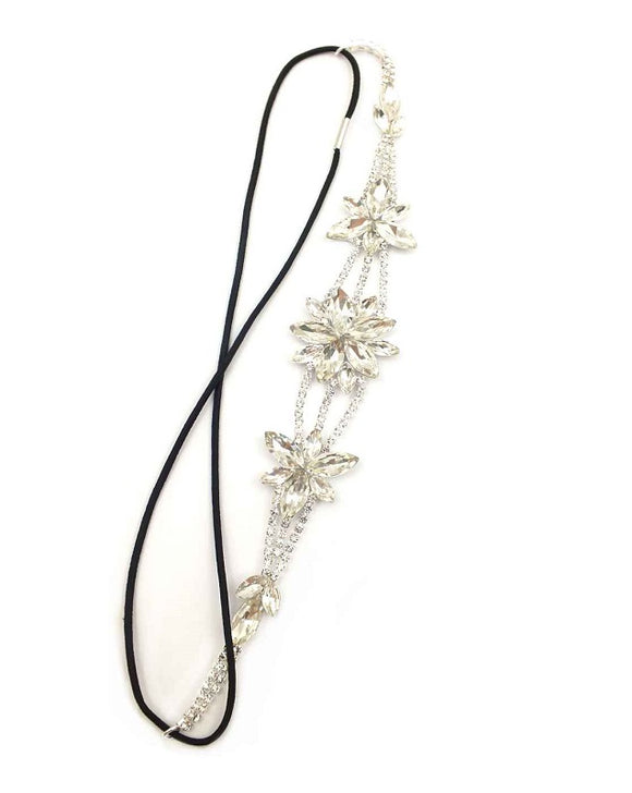 Flower Clear Rhinestone Stretch Hair Band ( 0066 )