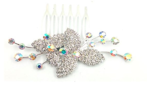 Clear and AB Rhinestone Hair Comb in Silver Setting ( 0073 )