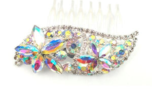 Clear and AB Rhinestone Hair Comb in Silver Setting ( 0075 )