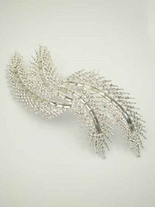 Large Silver Clear Rhinestone Double Limb Hair Comb ( 0318 )