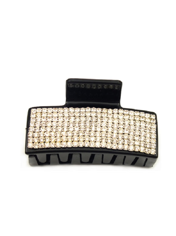 Black Plastic Hair Clip with Clear Rhinestones ( 0457 )