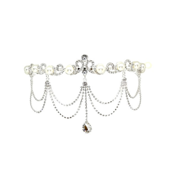 White Pearl and Clear Rhinestone Head Chain ( 40248 )