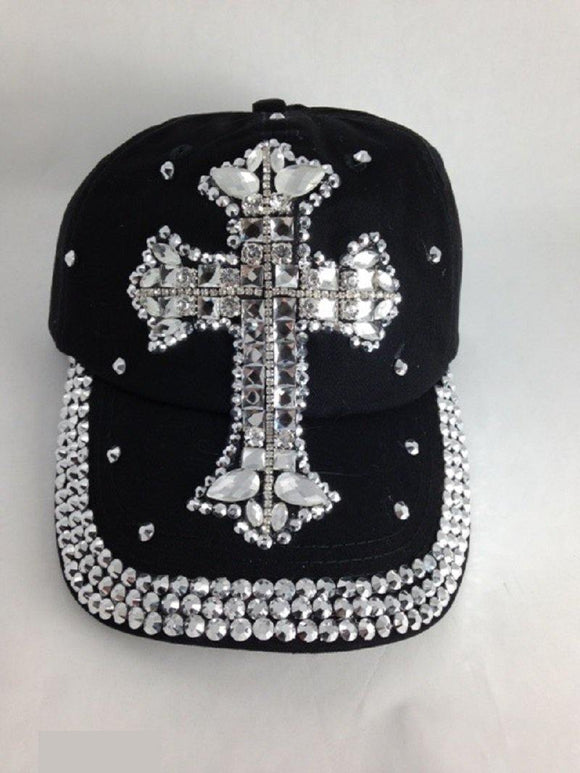 BLACK HAT WITH SILVER CROSS RHINESTONES ( 0014 )
