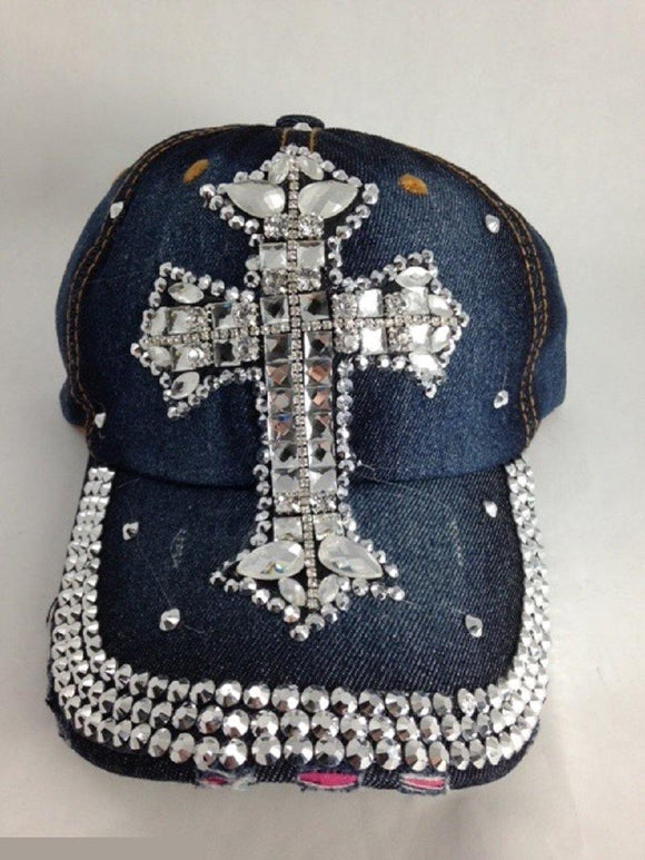 DENIM CLEAR RHINESTONE CROSS HAT ( 0014 )