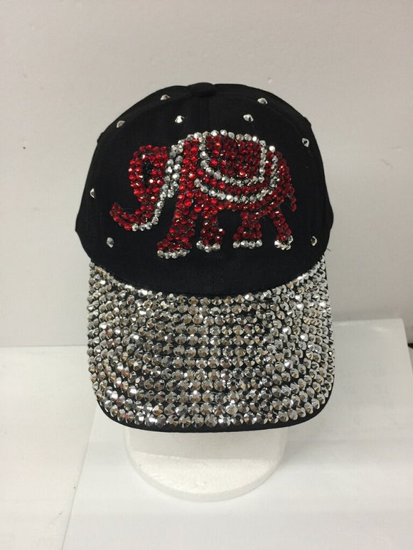 RED ELEPHANT RHINESTONE BLACK HAT CAP ( 0113 )