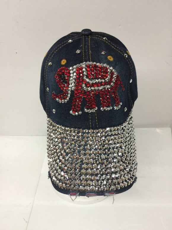RED ELEPHANT RHINESTONE DARK DENIM HAT CAP ( 0113 )