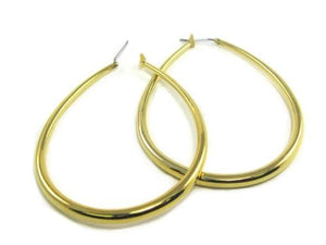 "2 1/4"" Gold Oval Hollow Hoop Earrings ( HT3L )"