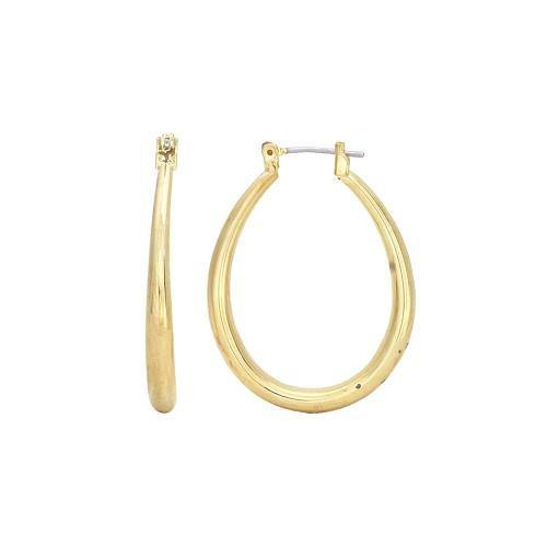 "1 1/4"" Gold Oval Hollow Hoop Earrings"