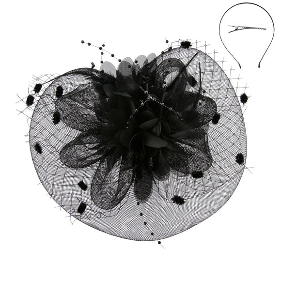 BLACK Net and Feather Fascinator ( 2221 )