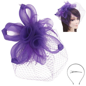 PURPLE FASCINATOR WITH PIN AND HAIR BAND ( 2272 )