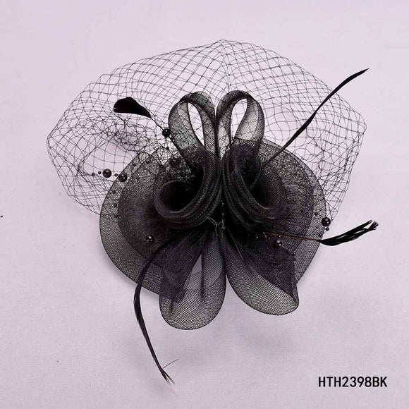 BLACK FASCINATOR WITH FEATHER MESH ( 2398 )