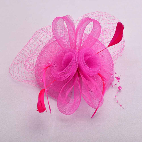 FUCHSIA FASCINATOR WITH FEATHER MESH ( 2398 )