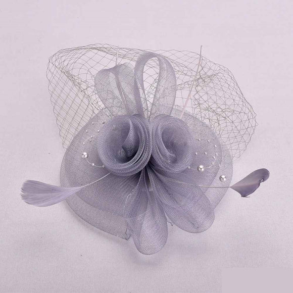 GRAY FASCINATOR WITH FEATHER MESH ( 2398 )